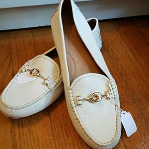 NWOT, Coach white pebbled leather flats